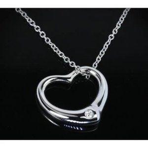 Jewelry - 0.50 Carats Round Diamond Heart Pendant 14K White